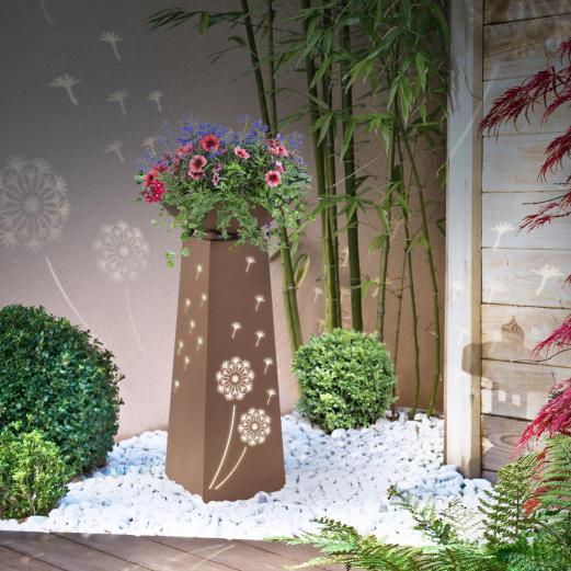Colonne décorative éclairage LED intégré motifs fleurs jardinière pour plantes