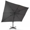 Parasol déporté rectangulaire CALVI 3x4 M gris rotatif 360° avec housse