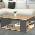 Table basse rangements bois et gris LYA contemporaine