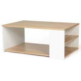 Table basse rangements bois et blanc LYA contemporaine