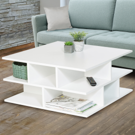 Table basse blanche multi-rangements NELLI contemporaine