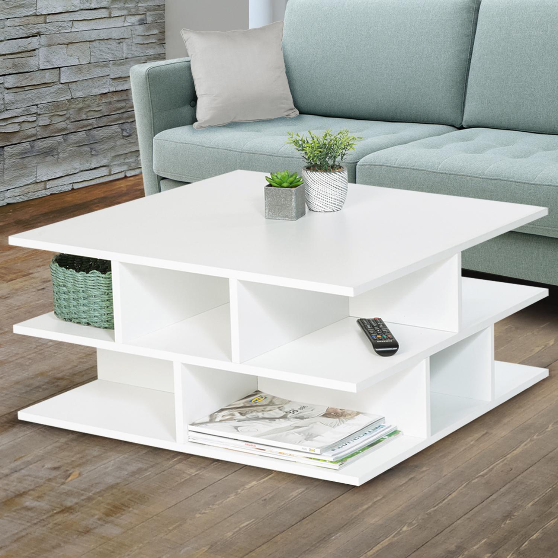 Table Basse Blanche Multi Rangements Nelli Contemporaine