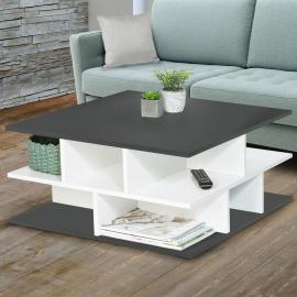 Table basse plateaux gris multi-rangements NELLI contemporaine