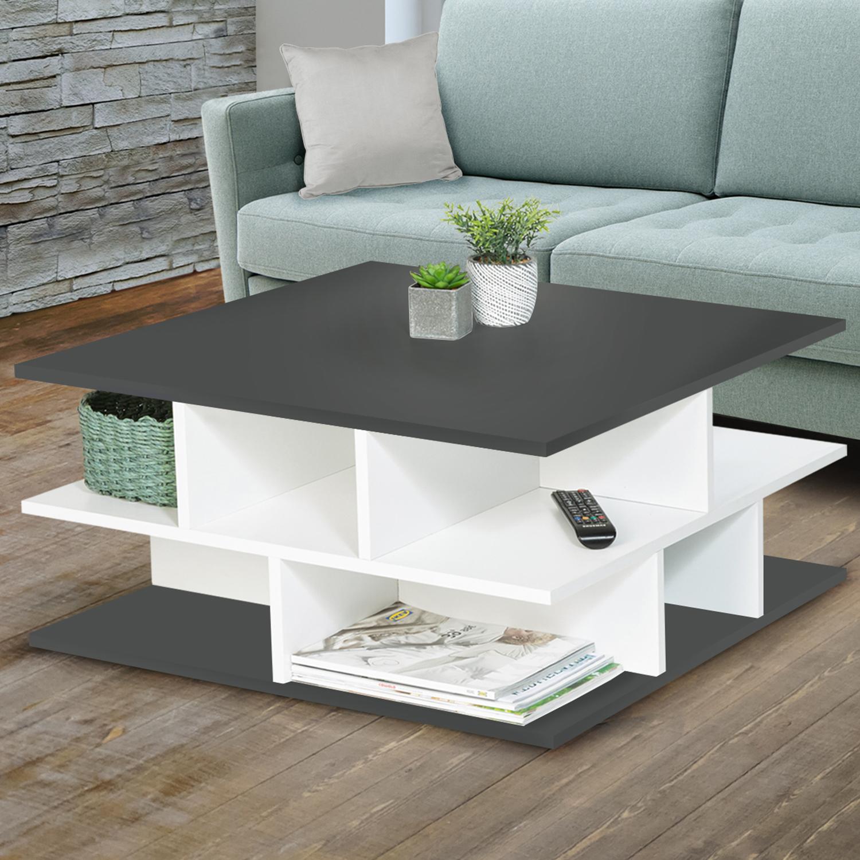 Table basse plateaux gris multi-rangements NELLI contemporaine IDM