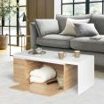Table basse rotative bois blanc 360° LIZZI contemporaine