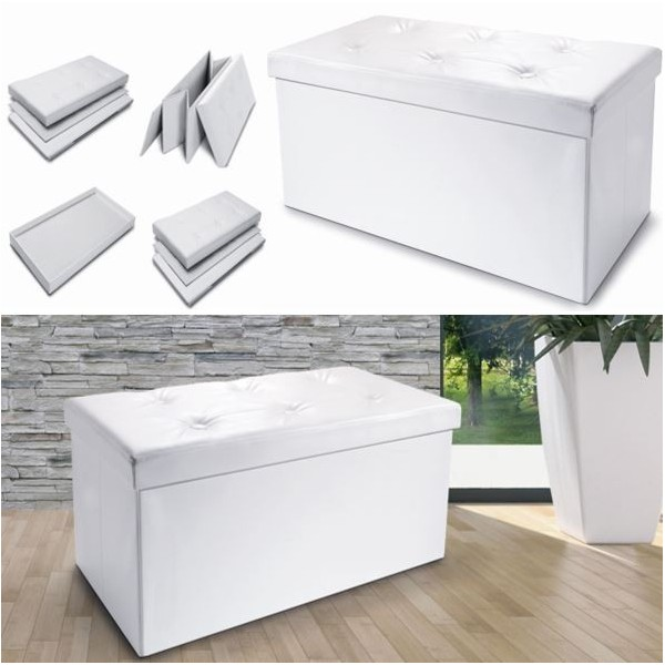 banc coffre rangement pliable blanc gm 100x38x38 cm devient. Black Bedroom Furniture Sets. Home Design Ideas