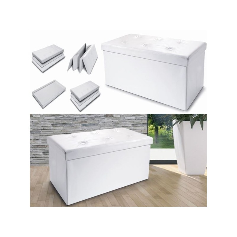 banc coffre rangement pliable blanc gm 100x38x38 cm meubles et am. Black Bedroom Furniture Sets. Home Design Ideas