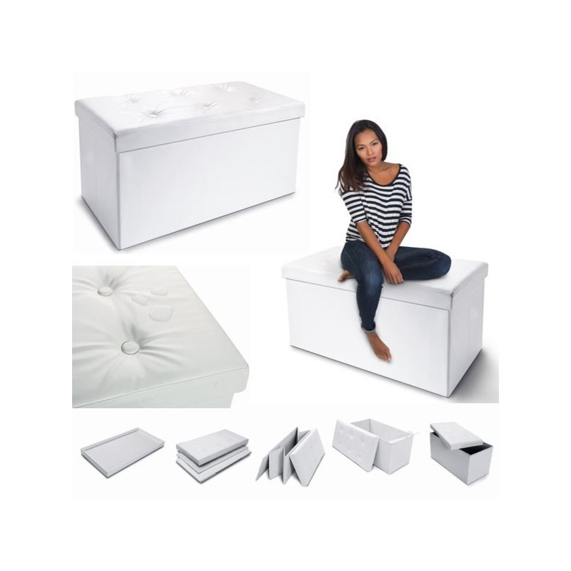 banc coffre rangement pvc blanc 100x38x38 cm pliable. Black Bedroom Furniture Sets. Home Design Ideas
