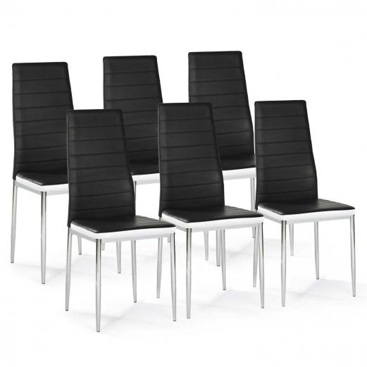 Lot de 6 chaises ROMANE noires bandeau blanc pieds chrome pour salle à manger