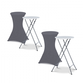 Lot de 2 tables hautes 105 cm pliantes + 2 housses gris anthracite
