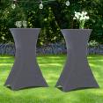 Lot de 2 tables hautes 105 cm pliantes + 2 housses gris anthracite
