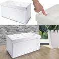 Banc coffre rangement pliable blanc PM 76x38x38 cm