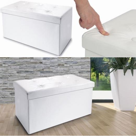 banc coffre rangement pliable blanc pm 76x38x38 cm meubles et am n. Black Bedroom Furniture Sets. Home Design Ideas