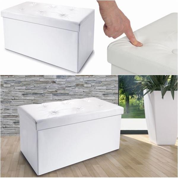 Banc coffre rangement pliable blanc pm 76x38x38 cm les - Banc coffre de rangement blanc ...