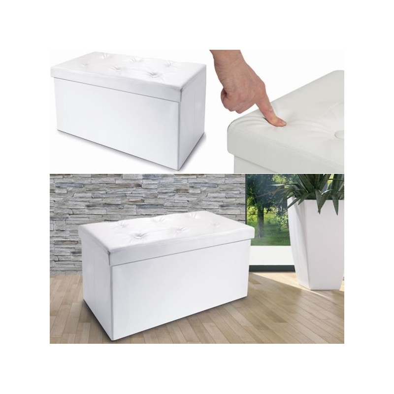 banc coffre rangement pvc blanc 76x38x38 cm pliable. Black Bedroom Furniture Sets. Home Design Ideas