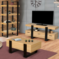 Etagère 4 niveaux PHOENIX bois et noir
