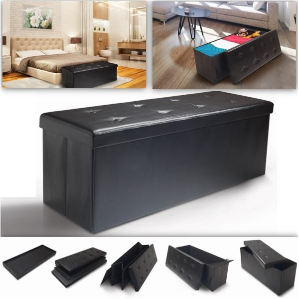 banc coffre rangement pliable noir gm 100x38x38 cm ebay. Black Bedroom Furniture Sets. Home Design Ideas