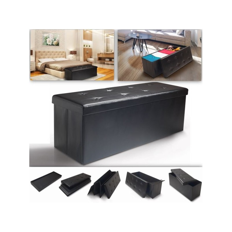 banc coffre rangement pvc noir 100x38x38 cm pliable. Black Bedroom Furniture Sets. Home Design Ideas