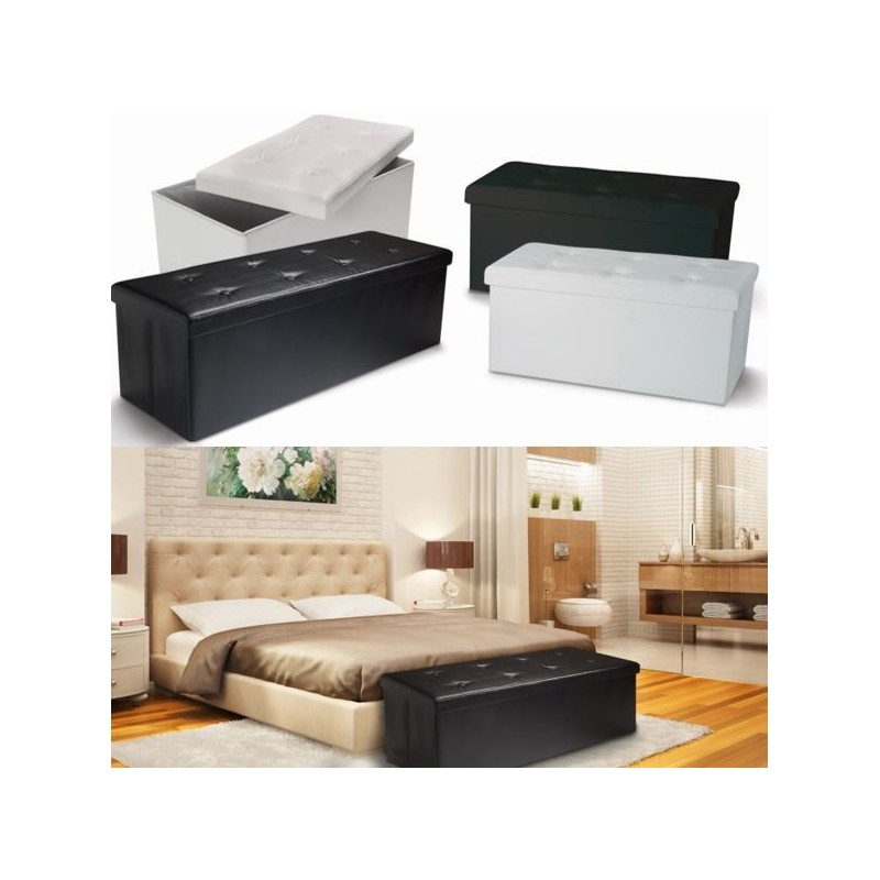 banc coffre rangement pvc noir 100x38x38 cm pliable ebay. Black Bedroom Furniture Sets. Home Design Ideas