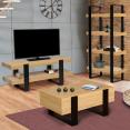 Meuble TV double plateau PHOENIX bois et noir