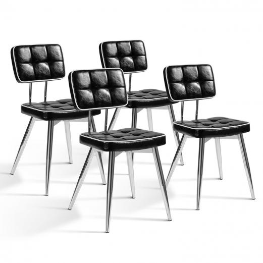 Lot de 4 chaises BOBY vintage noires et blanches