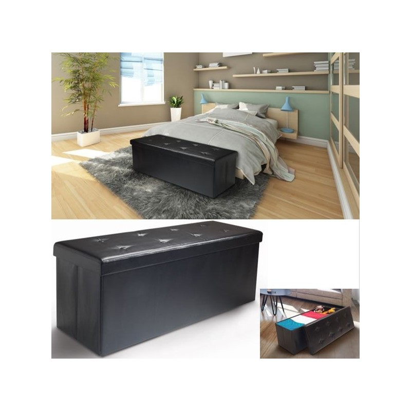 banc coffre rangement pvc noir 76x38x38 cm pliable. Black Bedroom Furniture Sets. Home Design Ideas
