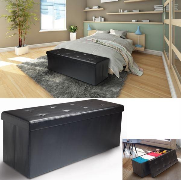 banc coffre rangement pvc noir 76x38x38 cm pliable accessoires mai. Black Bedroom Furniture Sets. Home Design Ideas