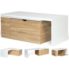 Table basse rotative bois blanc 360° LIZZI contemporaine