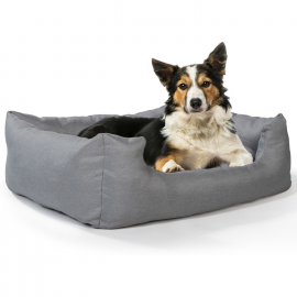 Coussin gris panier pour chien cocooning 80 x 60 cm avec coussin réversible rembourré