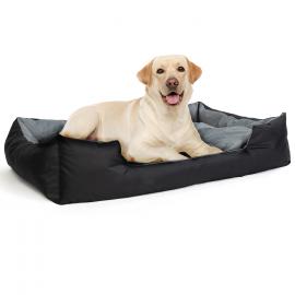 Coussin XXL noir et gris panier imperméable pour chien 120 x 90 cm avec coussin rembourré