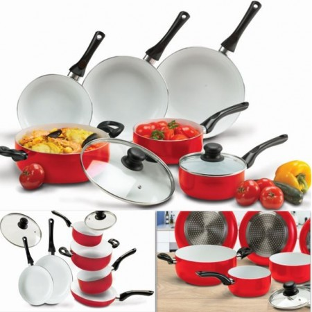 batterie de cuisine 8 pcs c ramique rouge avec casserole po le couvercle. Black Bedroom Furniture Sets. Home Design Ideas