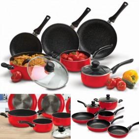 Batterie de cuisine 8 pcs pierre rouge avec casserole poêle couvercle