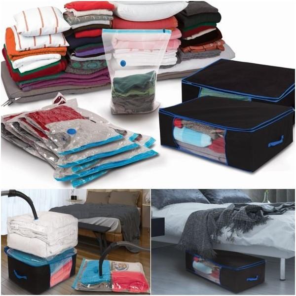 lot de 5 sacs housses et 2 coffres rangement sous vide aspirateur devient. Black Bedroom Furniture Sets. Home Design Ideas