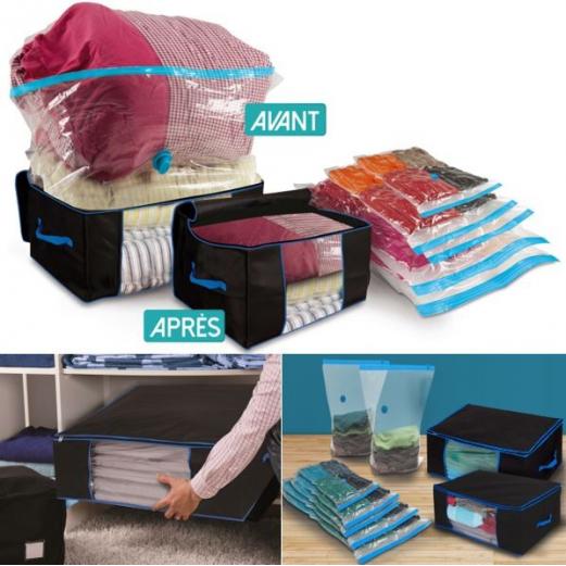 lot de 5 sacs housses et 2 coffres rangement sous vide. Black Bedroom Furniture Sets. Home Design Ideas