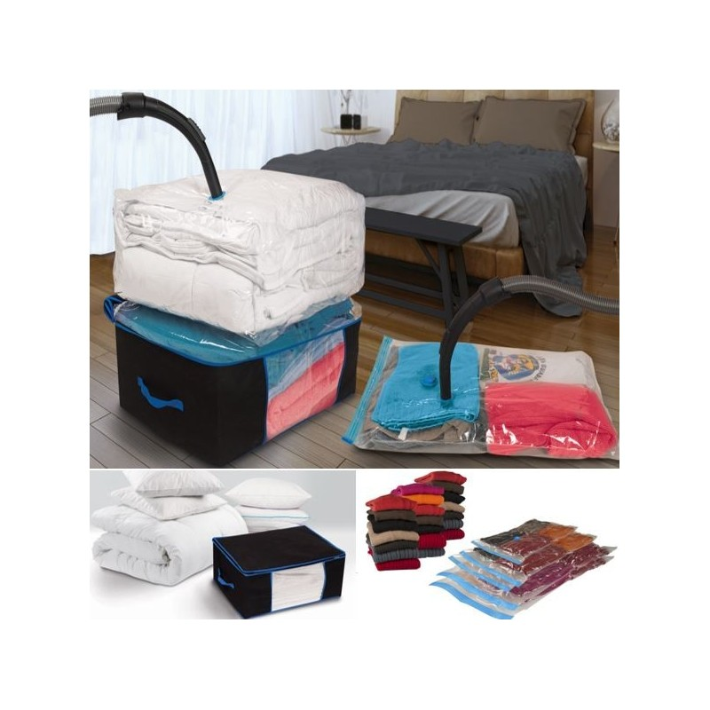 lot de 5 sacs housses sous vide et 2 coffres rangement linge et en. Black Bedroom Furniture Sets. Home Design Ideas