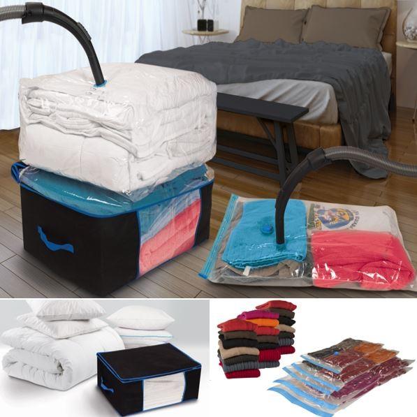 lot de 5 sacs housses sous vide et 2 coffres rangement. Black Bedroom Furniture Sets. Home Design Ideas