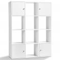 Meuble de rangement cube 12 cases bois blanc avec portes fond gris