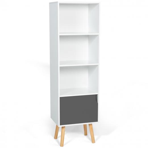 Bibliothèque étagère EMMIE scandinave bois blanc et gris