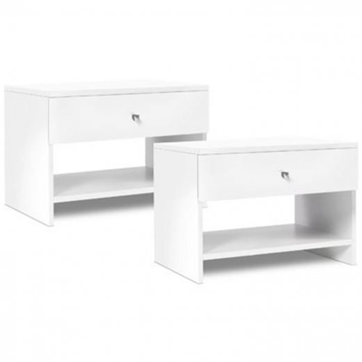 Lot de 2 tables de chevet PAOLA blanc bouton chrome