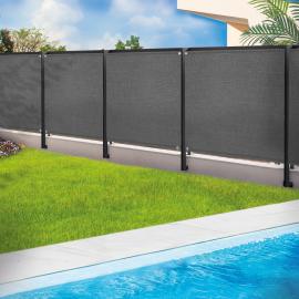 Brise vue renforcé 1,8 x 10 m gris 220 gr/m² luxe pro