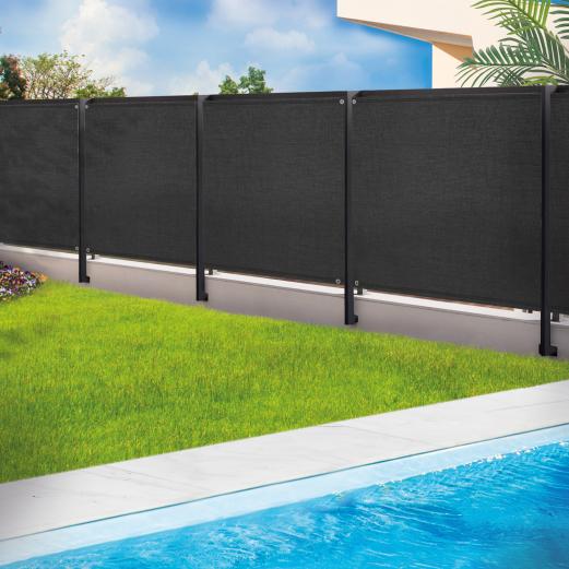 Brise vue renforcé 1,8 x 10 m noir 220 gr/m² luxe pro