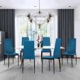 Lot de 6 chaises ROMANE bleu canard pour salle à manger