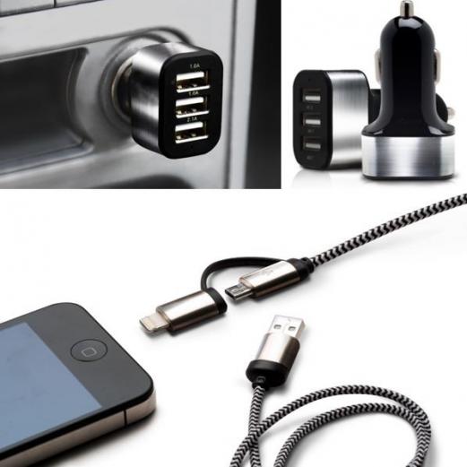 Chargeur voiture USB 3 ports universels + câble 2 en 1 pour smartphone allume-cigare auto