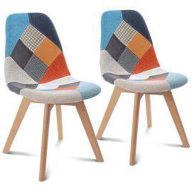 Lot de 2 chaises SARA motifs patchworks multi-couleurs
