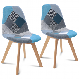 Lot de 2 chaises SARA motifs patchworks bleus