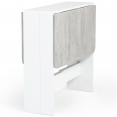 Table console pliable EDI blanche plateau effet béton