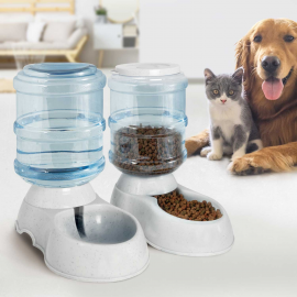 Lot de 2 distributeurs automatiques croquettes et eau 3,75 L pour chien et chat