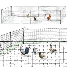 Kit clôture filet à poules 12M avec porte + 6 piquets