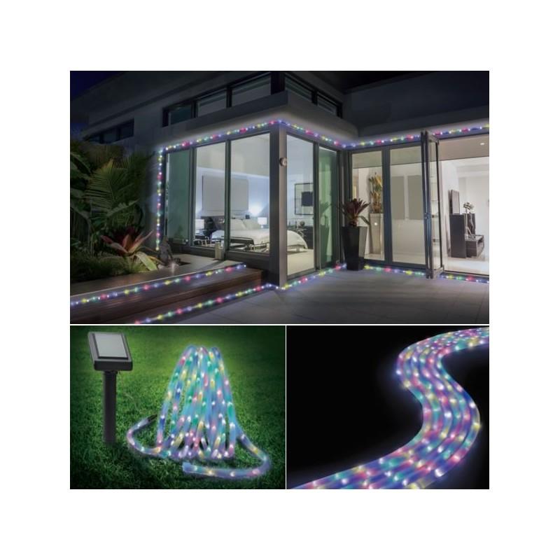 Cordon lumineux solaire 50 led multicolores eclairage et for Cordon lumineux exterieur