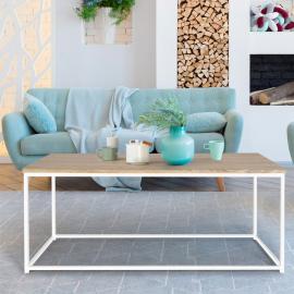 Table basse DETROIT design industriel bois et métal blanc